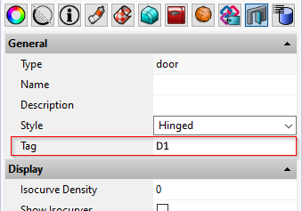 VisualARQ door properties panel with the tag field highlighted and with a value of D1