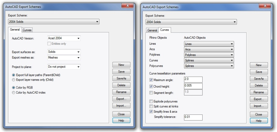 How to export Rhino and VisualARQ documents into AutoCAD