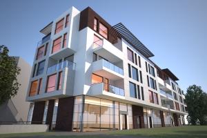Edificio de viviendas en  Gdansk, creado con Rhino y  VisualARQ. Renderizado con Maxell render