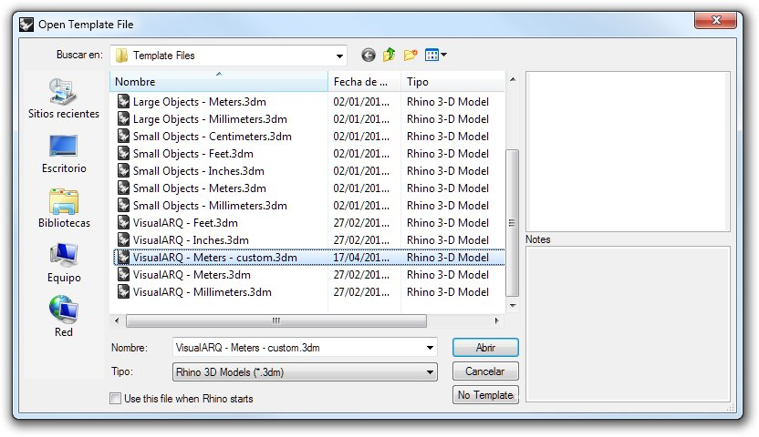 Fichier modèle de VisualARQ personnalisé
