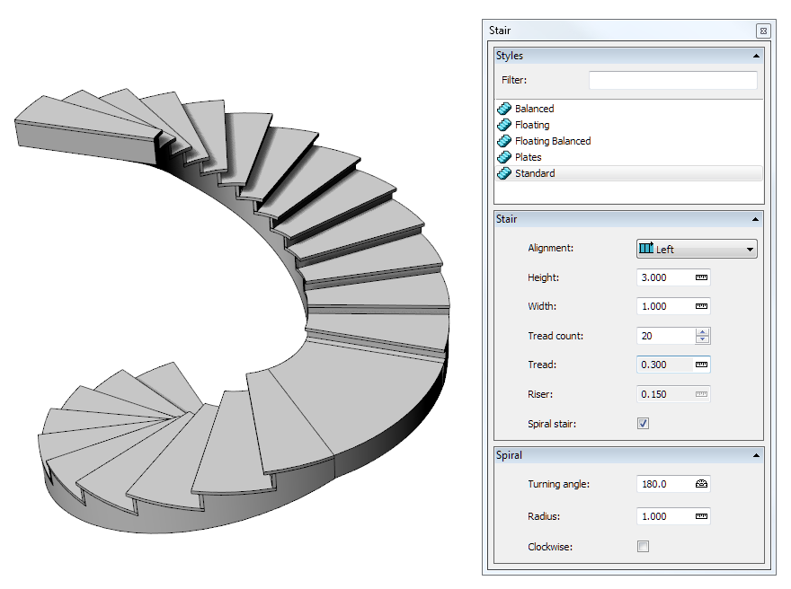 How Can I Create Spiral Stairs Can I Add Landings Visualarq 2