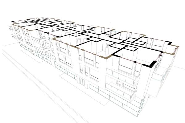 La sección del edificio mostrando los parámetros de nivel se ha obtenido con VisualARQ Level Manager