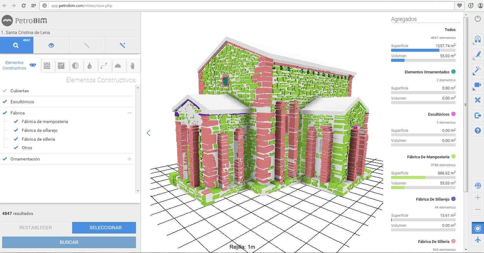PetroBIM analyzes a virtual model of the church of Santa Cristina de Lena