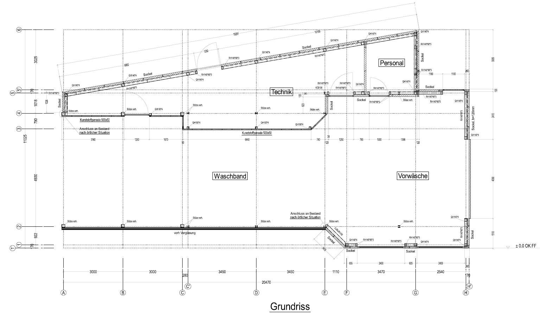 Vue en plan de la station de lavage