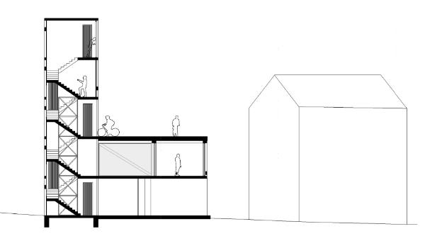 Sección transversal del proyecto que  Petr Tuma ha creado con VisualARQ para la ciudad de Horní Jiřetín