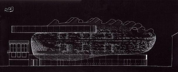 Plano alzado del diseño de CRAB Studio, Cook Robotham Architectural Bureau