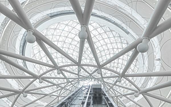 Elevators inside the skylights
