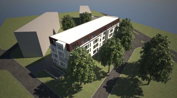 Vista general del edificio de viviendas,  renderizado con  Maxwell render
