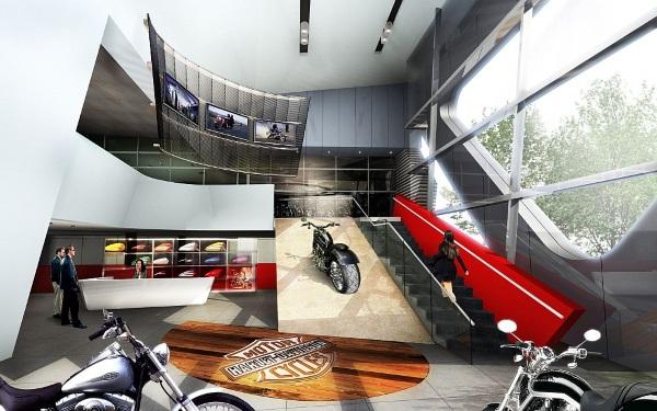 Render del interior de las oficinas y la sala de exposición de las motos.