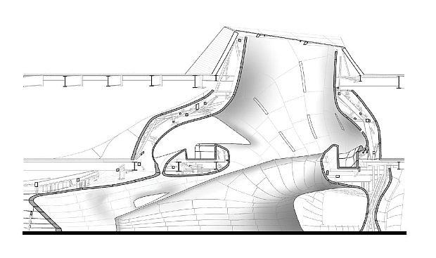 Sección renderizada del proyecto de Trahan Architects