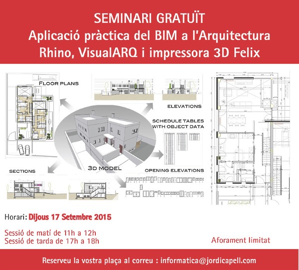 Free seminar of BIM architecture with VisualARQ and 3D printing
