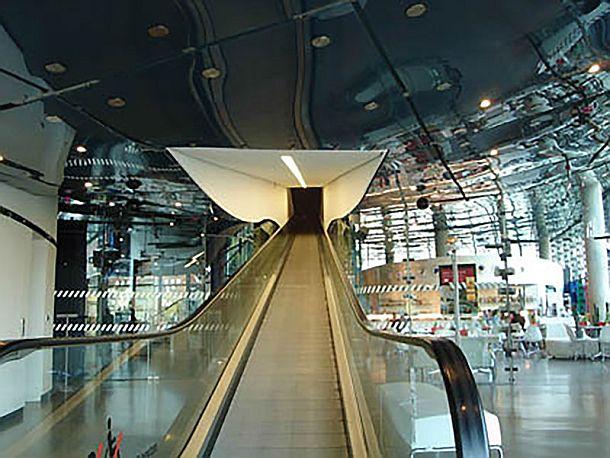 Los visitantes se desplazan por el museo en dos  cintas transportadoras
