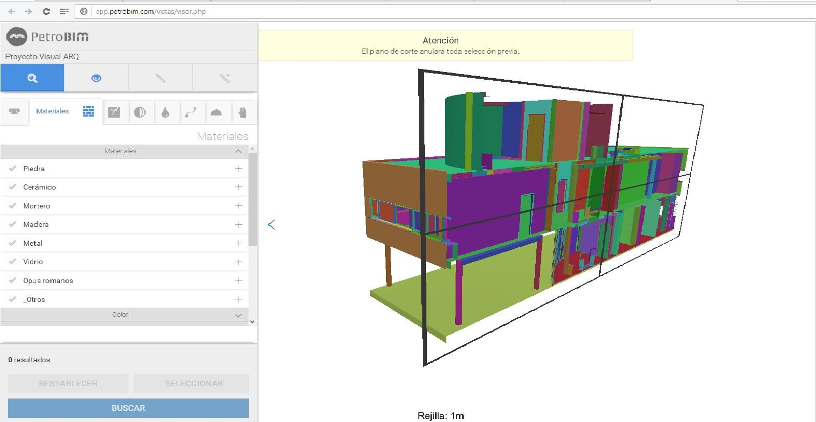 The Ville Savoye project created with VisualARQ seen in section in the PetroBIM application