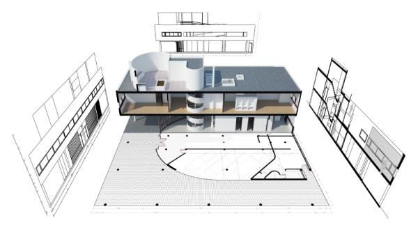Renderizado y planos de VisualARQ de la Ville Savoye.