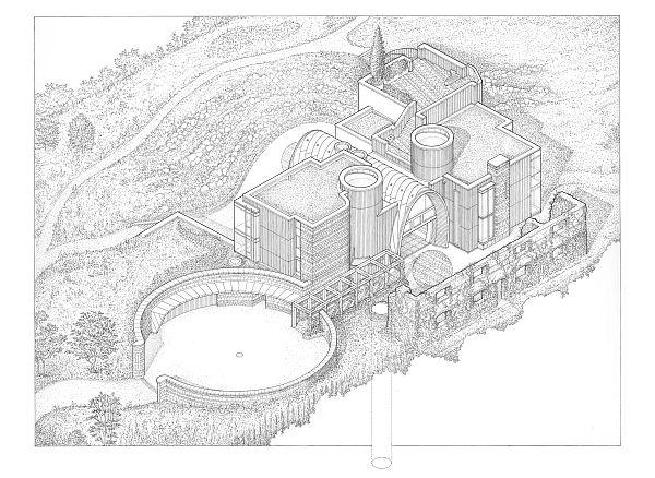 VisualARQ y el placer de dibujar. Vista axonométrica de la edificación y el patio de entrada.