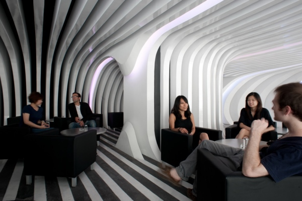 Architectural design of the lounge area of the Zebar created by Francesco Gatti