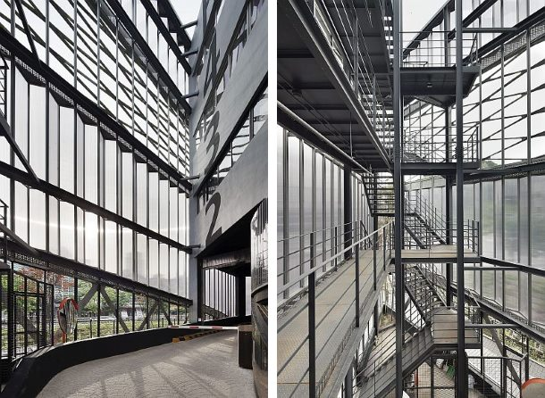 Interior Parking: steel stairs and vehicle ramps
