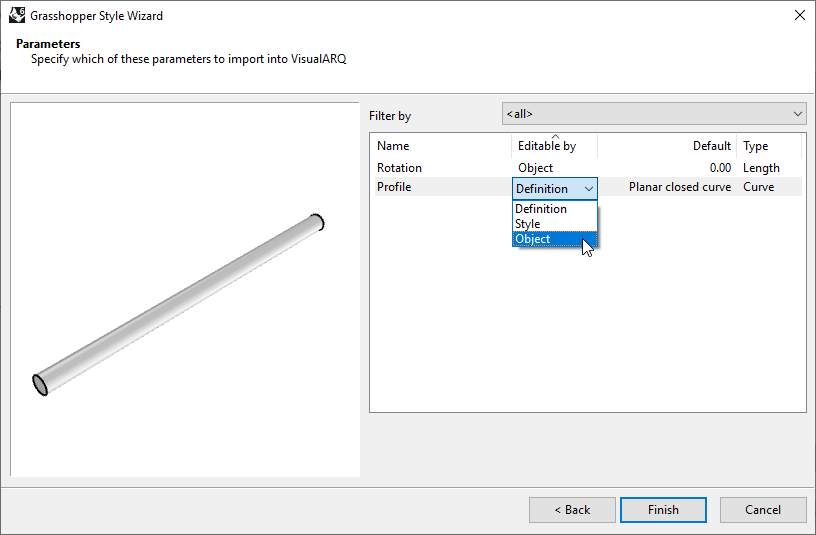 """Fourth step of the Beam Grasshopper Style Wizard. In this step one of the settings is the    """"Editable by"""", which has a dropdown with three options."""