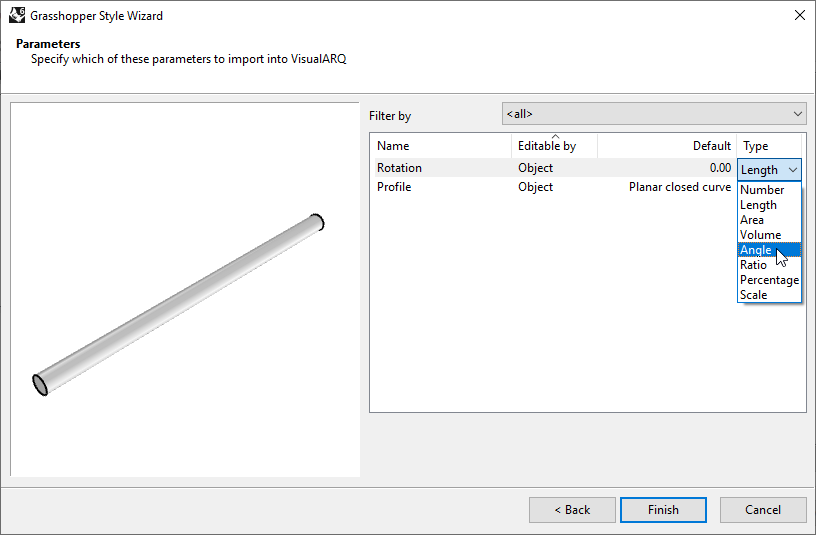 """Fourth step of the Beam Grasshopper Style Wizard. In this step one of the settings is the    """"Type"""", which depending on the kind of parameter offers several types to choose."""