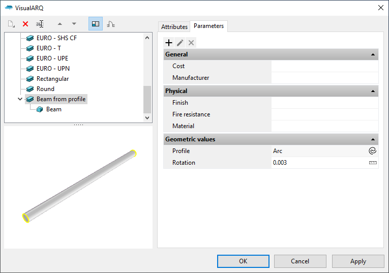 """The beam styles dialog with the new beam style. When it is selected the parameters    appear under the """"Parameters"""" section grouped as in the Grasshopper definition."""