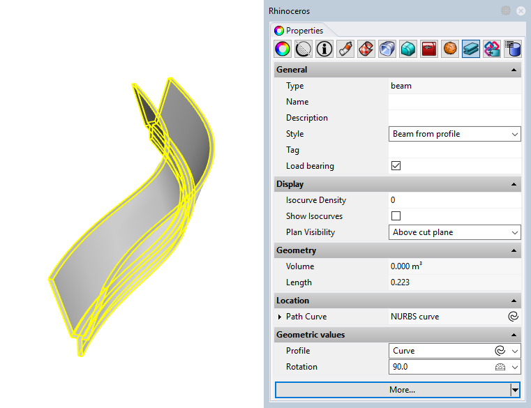 Example of a beam with the new style. The input parameters appear in the Properties panel    since they have been defined as editable