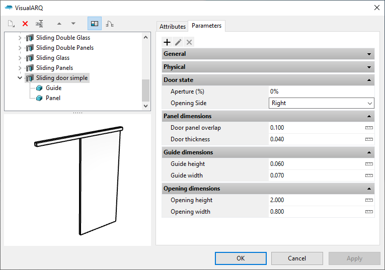 "The door styles dialog with the new door style. When it is selected the parameters appear under the ""Parameters"" section grouped as in the Grasshopper definition."