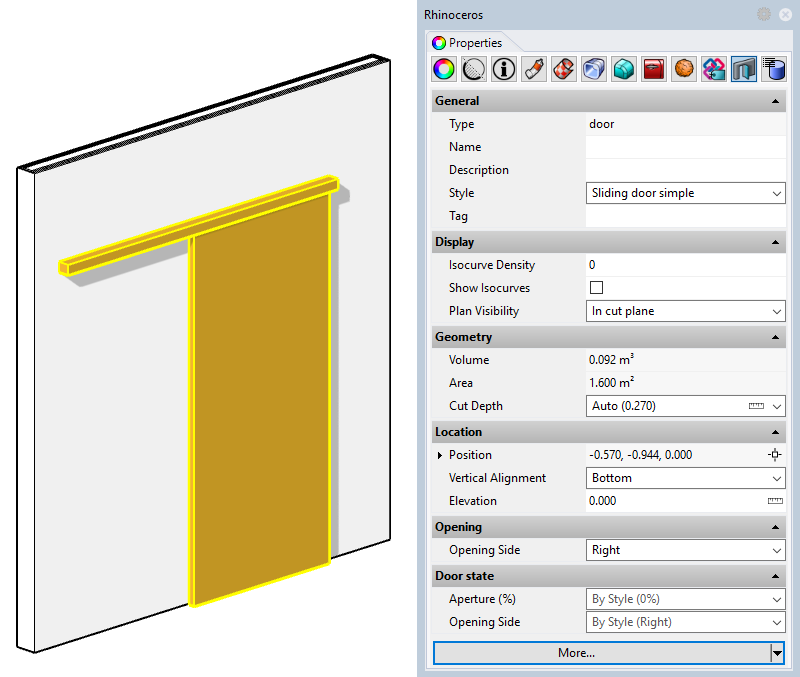 Example of a door with the new style. The two input parameters appear in the Properties panel since they have been set as editable by object.