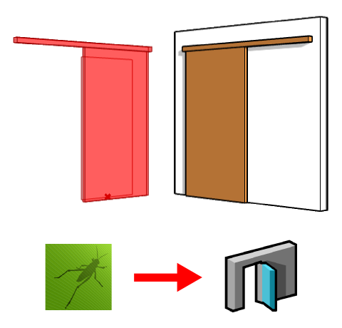 Comparison between the Grasshopper door on the left and the VisualARQ door on the right.