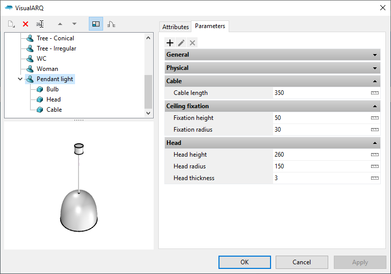 """The Generic Element styles dialog with the new generic element style. When it is selected the parameters appear under the """"Parameters"""" section grouped as in the Grasshopper definition."""