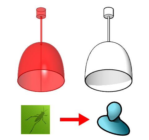Comparison between the Grasshopper generic element on the left and the VisualARQ generic element on the right.