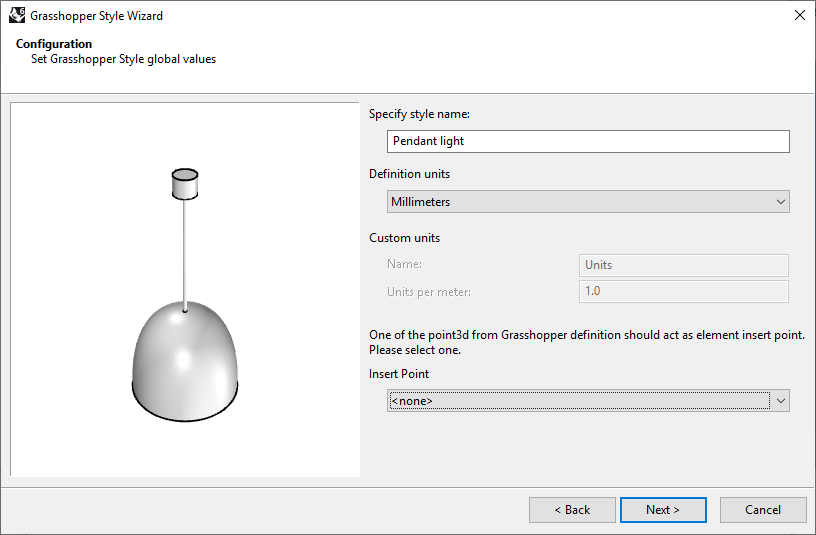 Second step of the Element Grasshopper Style Wizard. In this step the name, the units and the optional Insert Point from the Grasshopper file are selected.