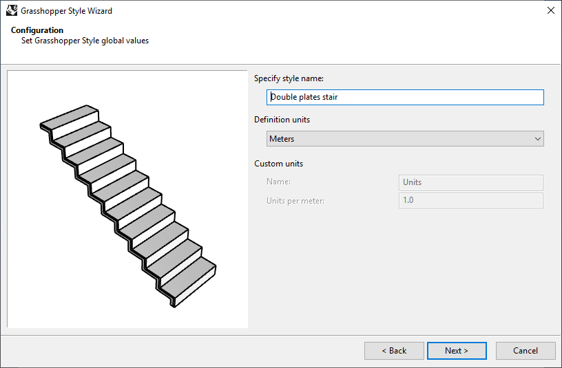 Second step of the Stair Grasshopper Style Wizard. In this step the name and the units are selected.
