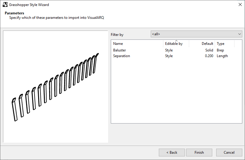 Fourth step of the Railing Grasshopper Style Wizard. To continue an instance of a closed solid polysurface or closed extrusion should have been selected from the model.