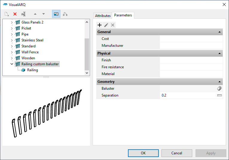 "The Railing styles dialog with the new railing style. When it is selected the parameters appear under the ""Parameters"" section grouped as in the Grasshopper definition."