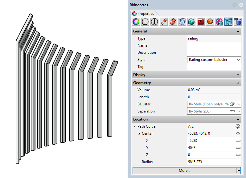 Example of a railing with the new style. The input parameters appear in the Properties panel since they have been set as editable by object.