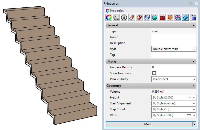 Example of a stair with the new style. Some of the input parameters appear in the Properties panel since they have been set as editable by object.
