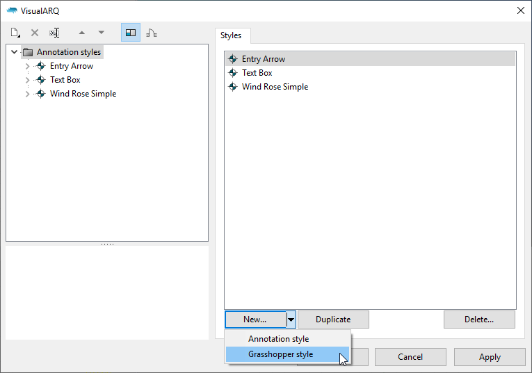 """The annotation styles dialog with the """"Grasshopper style"""" option visible after clicking on the """"New..."""" button."""