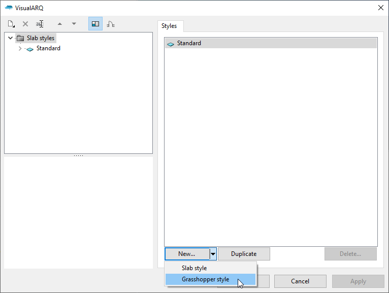 """The slab styles dialog with the """"Grasshopper style"""" option visible after clicking on the """"New..."""" button."""