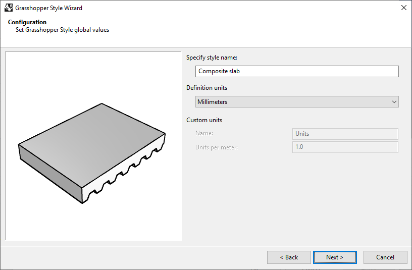 Second step of the Slab Grasshopper Style Wizard. In this step the name and the units are selected.