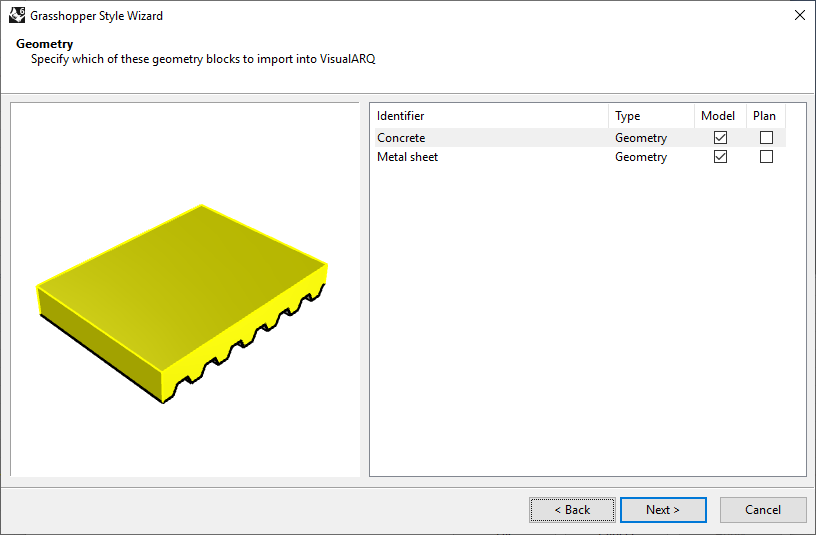 Third step of the Slab Grasshopper Style Wizard. In this step the geometry to be displayed and its representation is chosen.