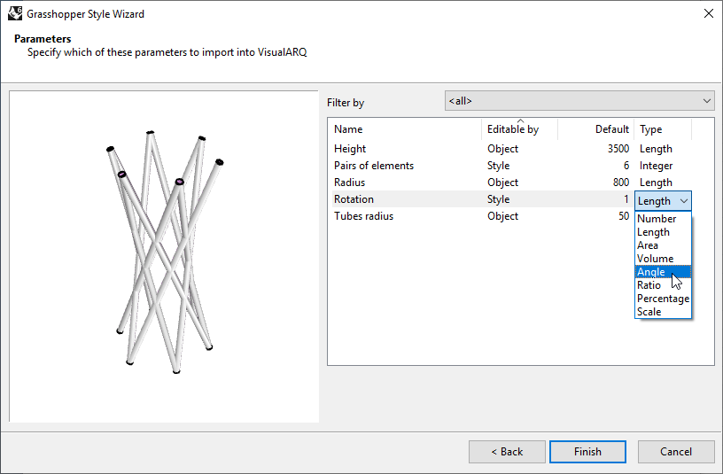 """Fourth step of the Column Grasshopper Style Wizard. In this step one of the settings is the """"Type"""", which allow to set the corresponding value type for each of the parameters."""
