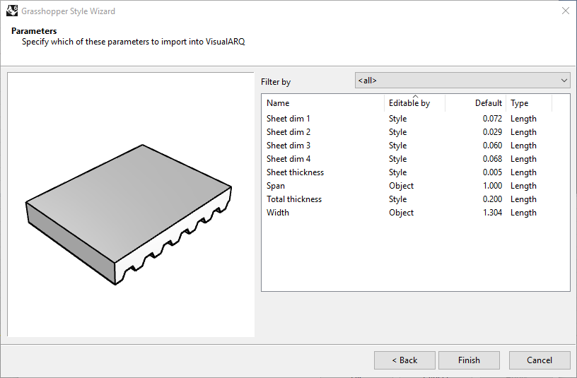 Fourth step of the Slab Grasshopper Style Wizard. In this step four settings are available (Name, Editable by, Default value and Type).