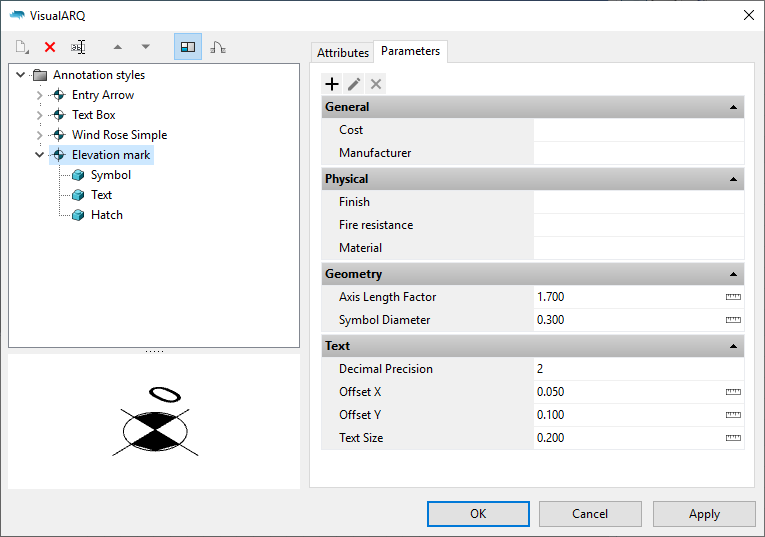"""The Annotation styles dialog with the new annotation style. When it is selected the parameters appear under the """"Parameters"""" section grouped as in the Grasshopper definition."""