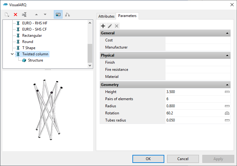 """The Column styles dialog with the new column style. When it is selected the parameters appear under the """"Parameters"""" section grouped as in the Grasshopper definition."""