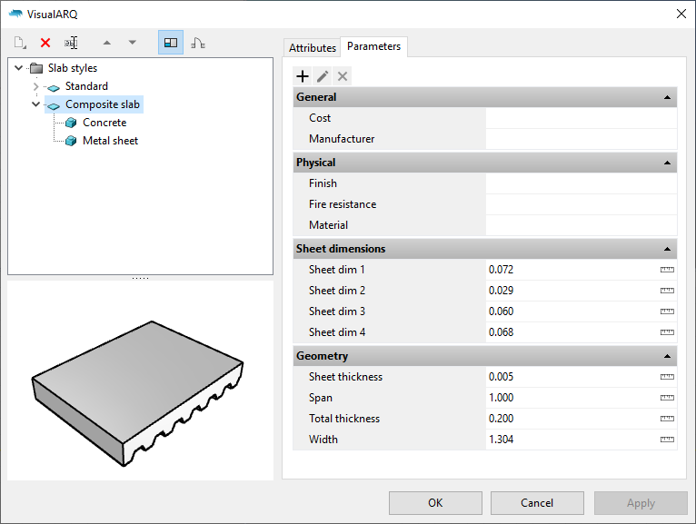 """The Slab styles dialog with the new slab style. When it is selected the parameters appear under the """"Parameters"""" section grouped as in the Grasshopper definition."""