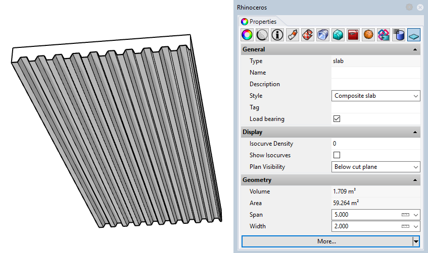 Example of a slab with the new style. Only the input parameters set as editable by object appear in the Properties panel.