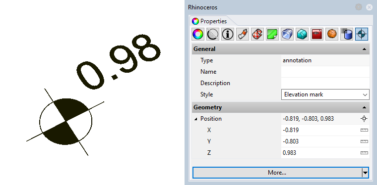 Example of an annotation with the new style. None of the input parameters appear in the Properties panel because all have been set as editable by style.