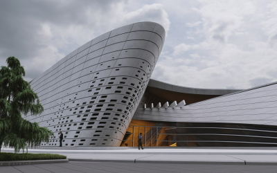 Main entrance of the Salt Formation Center modeled with Rhino and VisualARQ.
