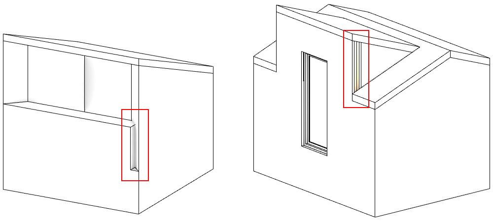 Zwei Modelle mit Problemen bei sich schneidenden Wänden.
