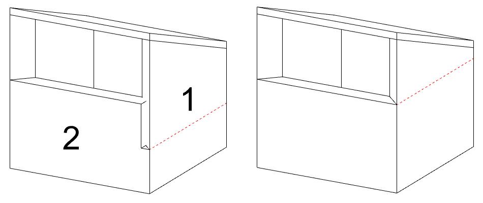 Das selbe Modell, links mit einem Problem bei der Wandüberschneidung und rechts ohne dieses Problem.